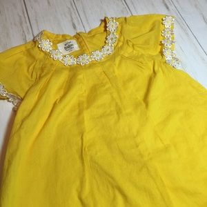 Mini Boden Yellow Daisy Trimmed Dress Girl's 3-4 Y
